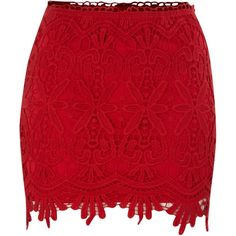 Izabel London Izabel lace skirt (715 INR) ❤ liked on Polyvore featuring skirts, saias, bottoms, full lace skirt, lacy skirt, knee length lace skirt, lace skirt and red lace skirt