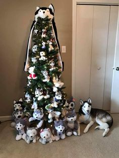 Siberian Husky Christmas Tree