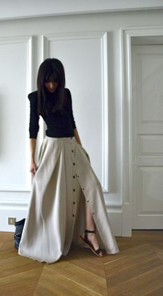 skirt and flat sandals