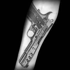Discover John Browning's iconic semi-automatic with the top 50 best 1911 tattoo ideas for men. Tattoos Arm And Hand, Arm Tattoo, Sleeve Tattoos, Pistola Tattoo, 1911 Pistol, Inner Forearm, Barber, Hand Guns, Female Tattoos