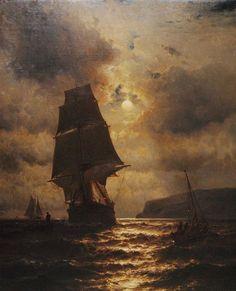 Moonlight Clipper Ship and Boats off the Coast of Long Island (Mauritz de Haas)