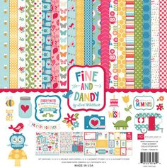 Echo Park Fine and Dandy Scrapbook Collection Kit (Everyday, Birds, Flowers). Twelve high quality double-sided papers, one Elements and Alphabet Stickers. Scrapbook Storage, Scrapbook Supplies, Scrapbook Paper, Scrapbooking Ideas, Scrapbook Layouts, Scrapbook Online, Scrapbook Quotes, Alphabet Stickers, Echo Park Paper
