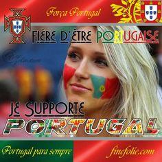 Fière d'être portugaise drapeaux peints sur les joues