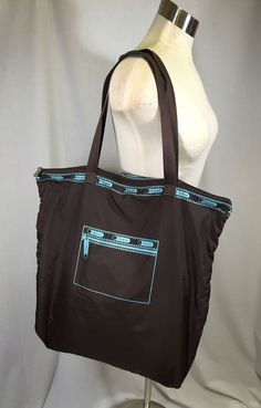 LeSportsac Travel Tote Weekend Bag Duffel Carry On Travel Brown Zipper Print  #LeSportSac #TotesShoppers