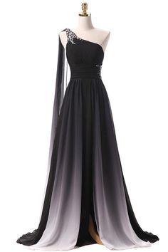 Black Ombre Chiffon One Shoulder Prom Dresses Formal Bridesmaid Dress – Laurafashionshop