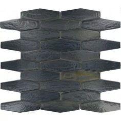 Sumac Hexagon Black Glossy Glass Tile