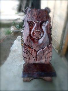 Muskoka BearChair hand carved in Grand Bassam, Cote d' Ivoire for Artisans of Abidjan