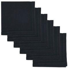 Now Designs Hemstitch Cotton Napkins - Set of 6 Black - NOD23297