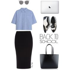Back to school in oxfords! by mcheffer on Polyvore featuring moda, T By Alexander Wang, Roland Mouret, Yves Saint Laurent, Blanc & Eclare, croptop, Oxfords and pencilskirt
