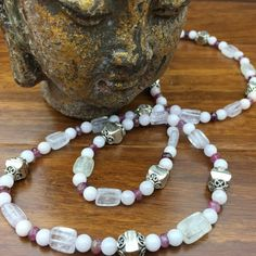 Divine Love! Kunzite, Morganite, Pink Tourmaline and Sterling Silver Stone Angel Healing Necklace!