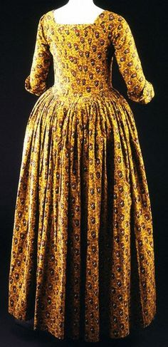 1780-85 dress, block printed & painted, England (fabric). Designed for European market.