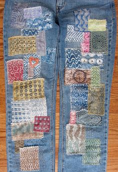 Gelli Printed Patches Tutorial - print and doodle your own look and feel for patching up your vintage jeans and clothing!  Full tutorial on the Gelli Arts Blog!!