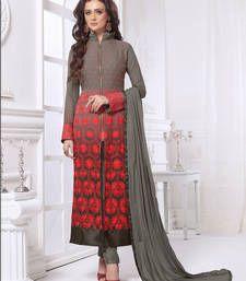 Buy Grey Red embroidered Georgette semi stitched salwar with dupatta wedding-salwar-kameez online