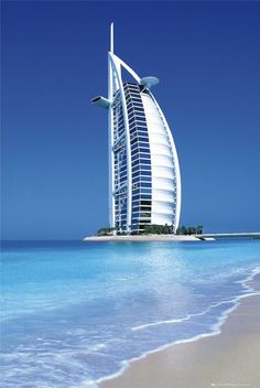 Burj Al Arab, one of the highest hotels in the world at 321 m (1,053 ft). #hotels
