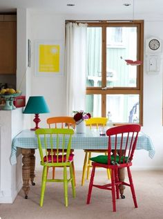 dining area - love the colours on the chairs