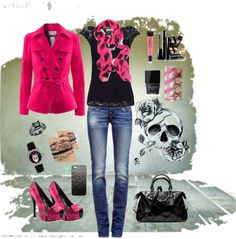 """""""Brandi's black & pink skull outfit"""" by brandi-clearwater-kover on Polyvore"""