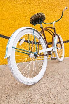 White-wheeled bike.