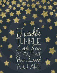 Twinkle Twinkle Little Star Nursery Wall Art by EvergreenandWillow