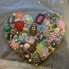 Handmade by Mardi. Vintage jewelry heart.