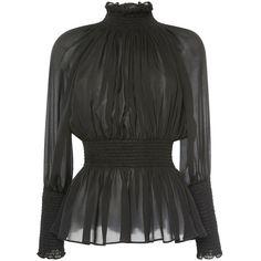 Elie Saab Long Sleeve Mock Neck Top ($1,175) ❤ liked on Polyvore featuring tops, elie saab, silk top, draped long sleeve top, drapey top and collar top
