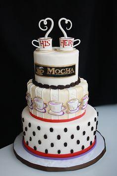 """I Dream in Coffee"" Wedding Cake Gorgeous Cakes, Pretty Cakes, Amazing Cakes, Pavlova, Fantasy Cake, Wedding Cakes With Cupcakes, Just Cakes, Unique Cakes, Novelty Cakes"