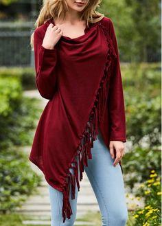 Tassel Design Wine Red Long Sleeve T Shirt on sale only US$23.97 now, buy cheap Tassel Design Wine Red Long Sleeve T Shirt at lulugal.com