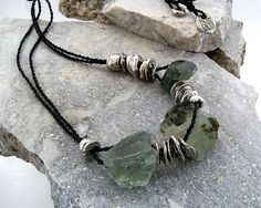 Urban Primitive Gemstone Sea Cairn Necklace - Fossilized Bone, Fine Silver, Green Amethyst, Moss Aquamarine, Tourmalated Quartz