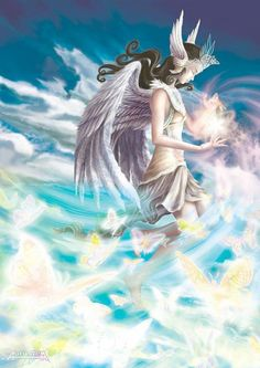 Angel from the sky - Stunning Anime and Manga CG artwork by Thailand based artist Nirut Tamchoo .