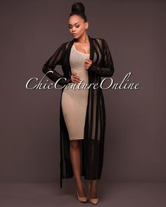Chic Couture Online - Adara Black Mesh Stripes Belted Duster, (http://www.chiccoutureonline.com/adara-black-mesh-stripes-belted-duster/)