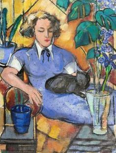 ⍕ Paintings of People & Pets ⍕   A woman & her cat | artist unknown