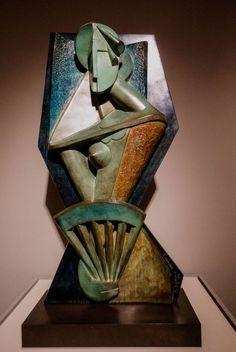 Alexander Archipenko - Woman with a Fan - Guggenheim Sculpture. Sculpture Head, Sculptures Céramiques, Stone Sculpture, Abstract Sculpture, Louise Bourgeois Sculpture, Contemporary Sculpture, Contemporary Art, Metal Art, Wood Art