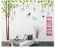 Muursticker boom met groene blaadjes en fotolijstjes