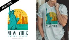 T-shirt design featuring an illustrated New York skyline with its famous buildings. It also says New York United States. Great for merchandise!