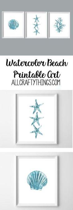 beach printables | wall art | turquoise art | watercolor printable art | summer printables