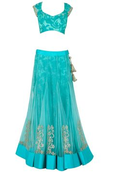 Jade by Monica and Karishma presents Aquamarine lace and tulle lehenga set available only at Pernia's Pop-Up Shop. Dress Indian Style, Indian Dresses, Indian Outfits, Indian Lehenga, Lehenga Choli, Anarkali, Indian Attire, Indian Wear, Diva Fashion