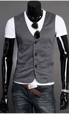 2016 Mens Suit Vest With Pockets Men Sleeveless Jacket Coat Black Casual Waistcoat Slim Dress Vests Colete Masculino Mens Suit Vest, Mens Suits, Chaleco Casual, Apostolic Clothing, Casual Formal Dresses, Outfits Hombre, Sleeveless Jacket, Well Dressed Men, Clothing Co