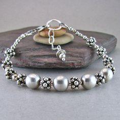Chunky Silver Bead Bracelet Statement Bracelet Handmade with Sterling Silver, Fine Silver, Granulated Bali Silver Average / Full Wrist