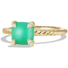 David Yurman Châtelaine 18k Gold 7mm Chrysoprase Ring w/ Diamonds ($1,020) ❤ liked on Polyvore featuring jewelry, rings, chrysoprase ring, diamond rings, gold ring, yellow gold rings and diamond jewelry
