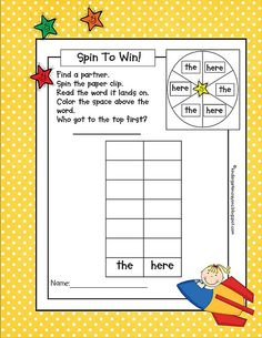 Spinner games make learning sight words a lot more fun. When my students play these games I want them to read the word and put it in a sent. Kindergarten Crayons, Kindergarten Language Arts, Classroom Language, Kindergarten Literacy, Classroom Fun, Preschool, Learning Sight Words, Sight Word Practice, Sight Word Games