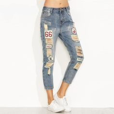 e0bceaee09a Blue Distressed Ripped Embroidered Patch Jeans Women Casual Ankle Denim  Pants Fall Button Fly Cropped Mid Waist Jeans  womens  swimsuits   womensclothing ...