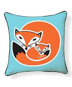 Look at this #zulilyfind! Orange Turquoise Fox Pillow #zulilyfinds