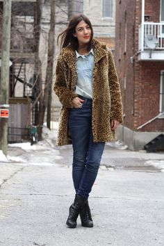 double denim with leopard print