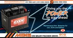Maintenance free Exide batteries - Midas Randburg