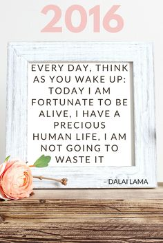 Dalai Lama Quote - EVERY DAY, THINK AS YOU WAKE UP: TODAY I AM FORTUNATE TO BE ALIVE, I HAVE A PRECIOUS HUMAN LIFE, I AM NOT GOING TO WASTE IT || 2016 Resolutions | The Travel Tester