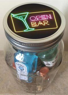 Items similar to Birthday Minibar in a Jar - Neon Open Bar on Etsy Birthday Mini Bar In A Jar by KylerDesigns on Etsy Mini Alcohol Bottles Gifts, Alcohol Gift Baskets, Mini Liquor Bottles, Wine Gift Baskets, Alcohol Gifts, Mason Jar Gifts, Mason Jars, Basket Gift, Gift Jars