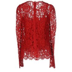 Dolce & Gabbana Blouse (12.415 ARS) ❤ liked on Polyvore featuring tops, blouses, red, lacy tops, red top, lacy blouses, red blouse and zipper top