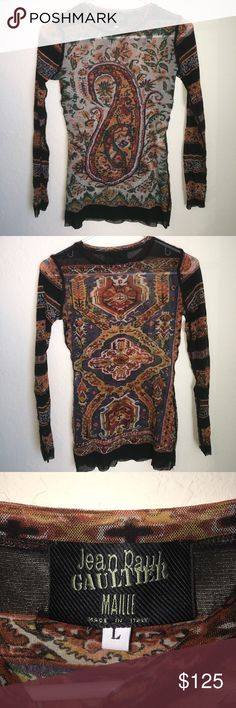 Jean Paul Gaultier Paisley sheer top Perfect for layering or a warm fall attire. Jean Paul Gaultier Tops Tees - Long Sleeve