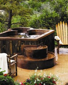 Copper Hot Tub with Barn Wood Siding traditional swimming pools and spas, #outdoors, #pinsland, https://apps.facebook.com/yangutu