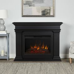 The Antero Grand electric fireplace is the perfect addition to any room in your home. This fireplace features the Real Flame Grand Series firebox, which is larger than our standard firebox and has incredible realism and clarity. Grey Fireplace, Fireplace Surrounds, Fireplace Design, Black Fireplace Surround, Fireplace Ideas, Prefab Fireplace, Painted Fireplace Mantels, Portable Fireplace, Linear Fireplace