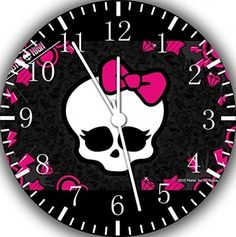 Monster High Wall Clock Wooden Pink Black Skullette Girls Bedroom Decor #IKEA